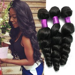 7A Malaysian Virgin Hair Loose Wave hair 4pcs Lot Raw Human Hair Weave Unprocessed Malaysian loose wave Color 1b Malaysian Loose Wave