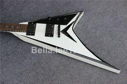 Custom guitar shop,Jack Mike flying V electric guitar,white color black tuners,mahogany wood body,rosewood fingerboard 6 string guitars