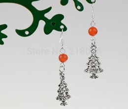 Fashion Antique Silver Cute Christmas Tree &Orange Opal Bead Vintage Charms 50 Pair Dangle Earrings 925 For Woman Jewelry L612