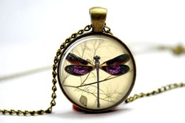 Wholesale 10pcs Dragon Fly Necklace Vintage Style Jewelry Cute Dragonfly Pendant Bronze Glass Cabochon Necklace