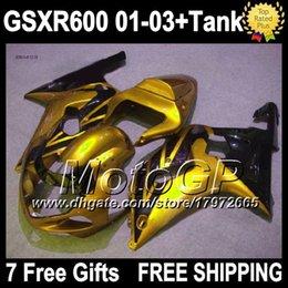 7gifts+Tank For SUZUKI 01 02 03 GSXR600 Gold black 2001 2002 2003 4G3307 GSXR-600 GSXR 600 GSX R600 K1 Golden black 01-03 GSX-R600 Fairings