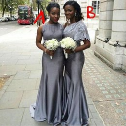Two Styles Silver Gray Long Bridesmaid Dresses Ruched Mermaid Maid of Honor Party Dresses Custom Made Top Quality Satin Evening Gowns