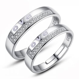 Hot ethnic vintage exquisite noble crystal couple love letter rings new arrival 925 sterling silver jewelry