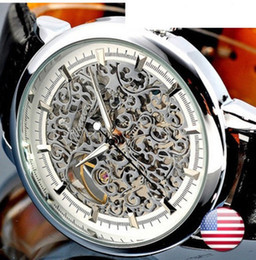 Wholesale Hot Sale Promotional Price Winner Men Gold Skeleton Hand Wind Mechanical Watches Men s Fashion Leather Wristwatches Montre Homme