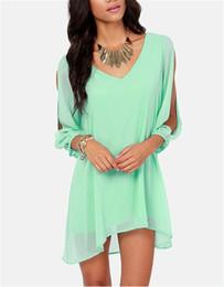 Wholesale sale fashion dresses summer v neck chiffon loose A line dress long sleeve shirt Apparel women girls tops Blouses Shirts Women s Clothing