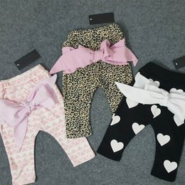 Wholesale 2016 Spring Fashion Boy Girl Pants Children Kids cotton leopard love heart geometric print bow harem pants Y