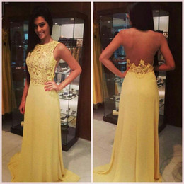 Lace Long Evening Gowns Sheer Back A-Line Yellow Chiffon Cheap Pageant Dress Vestidos De Fiesta Largos Prom Gown