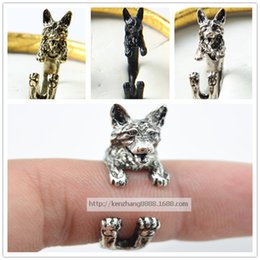Drop shipping retro punk German Shepherd Ring free size hippie animal German Shepherd dog Ring summer jewelry for pet lovers