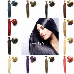 Wholesale- 1g s 150g pack 14''- 24'' 100% Human Hair u Tip Hair Extensions Remy brazilian Factory Price Straight nail u Tips Hair dhl free