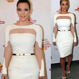 Wholesale 2015 Best Selling Bodycon Runway Fashion Evening Dresses Cheap Woman Clothing Under Knee Length Sheer Long Sleeve Dresses With Belt