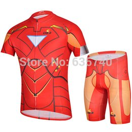 Wholesale-2015 Captain America Iron Men Bicycle Jerseys Bicycle Suits Bike Shirt Short Jersey Bib Shorts Iron Men Cycling Jerseys For Men