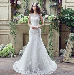 Wow !! Bohemian Mermaid Lace Wedding Dresses Cheap With Bateau Neck Appliques Sequin Backless Real Photo Slim Bridal Gowns In Stock