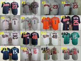Wholesale 1 Carlos Correa Kyle Seager Kolten Wong Baseball Cool Base Jerseys Authentic Stitched Jersey Softball Sportswear