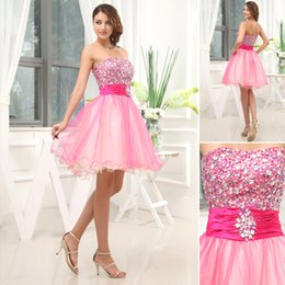 Wholesale Affordable Price Beautiful Strapless Rhinestones Upper Half Tulles Hem Pink homecoming Dresses New Fashion For Retailers NYC