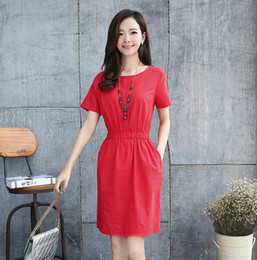 2016 summer Han Guodong door dress restoring ancient ways is han edition cultivate one's morality contracted breathable cotton dress with sh
