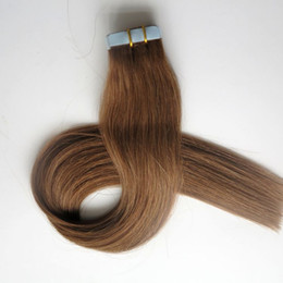 50g 20pcs Glue Skin Weft Tape in hair Extensions 18 20 22 24inch #8 Light Brown Brazilian Indian human hair extension