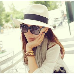 Wholesale Simple Straw Hats - Wholesale-Classic Jazz style simple hat large brim summer hat Beach holiday straw sun hats for women summer style hat 2015 hot sale