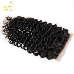 Grade 6A Brazilian Deep Curly Closure 100% Virgin Human Hair Top Lace Closures Size 4x4 Cheap Free Middle Part Brazilian Kinky Curly Closure