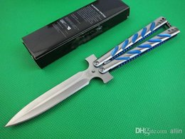 Wholesale Promotion Butterfly BM C SL Balisong knife C HRC Blade Blue handle Spear point Survival Tactical Flail knife knives