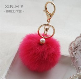 Hot Sale Candy Colour Cute Genuine Leather Rabbit Fur Ball Plush Key Chain For Car Key Ring Bag Pendant Car Keychain QLK180