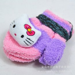 FREE SHIPPING+12pair lot HelloKitty Girl Knitted fashion Gloves Mixed color,Children Baby boy Girl Winter Warm Gloves,kid gloves