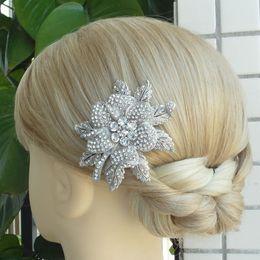 Hair accessories Wedding Bridal Flower Hair Comb Rhinestone Crystal FSE03608C1