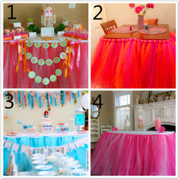 Tulle Table Skirt Wedding Decoration Wedding Custom 16' FT Shimmer Tulle Table Skirt Wedding Birthday New Baby Graduation Tablecloth New 201