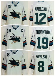 Free Shipping San Jose Sharks Hockey Jerseys 8 Joe Pavelski 12 Patrick Marleau 19 Joe Thornton Ice Hockey Jersey Road Away White