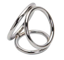Wholesale Metal Penis Ring Cock Cage Triple Enhancer Sex Delay Ring Gadget Adult Toys for Men Stainless Steel Easy Release Tri Cock Ball