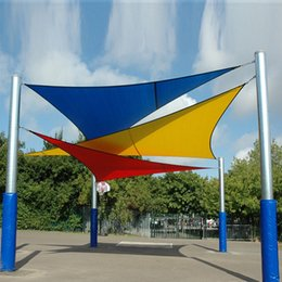 Wholesale New Triangle Sun Shade Sail Cover Size M M M Top Garden Awning Shelter Waterproof Garden Pool Sun Shade Sail
