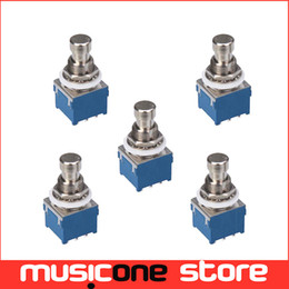5pcs Button Switch 3PDT 9-Pin Stomp Foot Pedal Switch True Bypass Blue with Silver MU0631