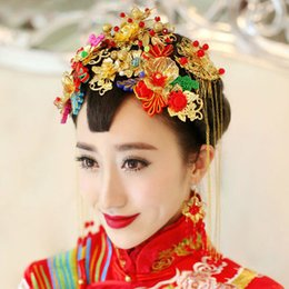 Wholesale Chinese Traditional Bridal Hair Accessories Ancient Costume Tiaras Crystal Tassels Luxurous Elegant Classical Red Bride Decoration A Set