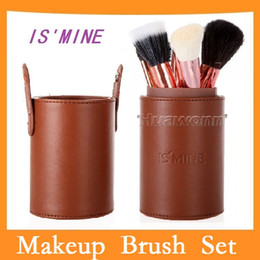 Wholesale IS MINE set Professional Makeup Brush Set Cosmetic Brush Kit Makeup Tool with Cup Holder Case Colors Brown Dropshipping