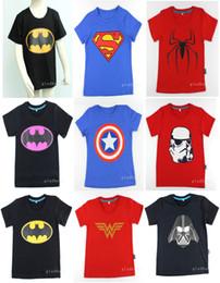Wholesale Cotton Superhero T Shirts - 2015 New!children clothes boys girls unisex t shirt multicolor superhero costume t-shirts 100% cotton children's t-shirt