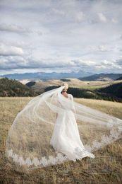 Wholesale Awesome tulle super long veil for brides single layer women wedding veils online appliques lace veil bridal
