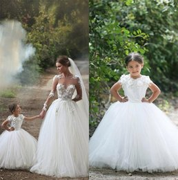 Wholesale Cinderella White Dress For Girls - 2015 Cinderella Flower Girls Dresses for Weddings Kids First Communion Gowns Floral Princess Arabic Mother and Daughter Match Wedding Dress