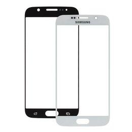 Promotion écrans lcd samsung / Blanc lentille frontale de l'écran Pièces de réparation de verre noir extra-atmosphérique pour Samsung Galaxy S6 RRP_101