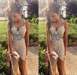 Wholesale Amazing blingbling full sequins fabric prom dresses sexy side slit spaghetti straps backless court train formal evening party gowns BO6056