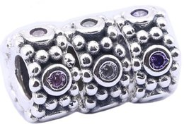 Sterling Silver Charms 925 Ale Rhinestone European Charms for Pandora Bracelets DIY Basic Beads Accessories 3 colors