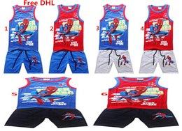 Spiderman ensembles de vêtements d'été à vendre-Spiderman Beach Boys Summer Set Vêtements enfants Cartoon 2PCS Tenues Set Cotton T-shirt + Pantalons Cinquième 2PCS Set Enfants Vêtements décontractés