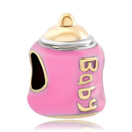 Wholesale and Retail Gold Plating Enamel Pink Baby Milk feeding Bottle European Charm Fit Pandora Charm Bracelet