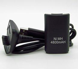 Promotion charge de contrôleur sans fil xbox 2 in1 Ni-MH 4800mAh Batterie rechargeable Kit + câble USB chargeur chargeur de sauvegarde pour Microsoft Xbox 360 Wireless Controller