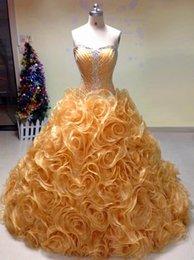 Wholesale Hot Quinceanera Dresses Vestido De Debutante Para Anos Masquerade Organza Ball Gown Court Train Quinceanera Gowns