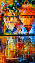 Wholesale Unframed Canvas Prints Russian Federation Oil Painting Hot Air Balloon Bridge Venice Poplar tree street lamp house park rain