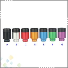 Wholesale 7 holes filter Drip Tip Wide Bore Drip Tip Heat insulation Buttons Style Aluminium Resin Dripper Tips filtering vapor Mods DHL Free