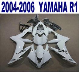 Injection molding free shipping ABS fairing kit for YAMAHA 2004-2006 YZF R1 yzf-r1 04 05 06 white black plastic fairings set PQ96