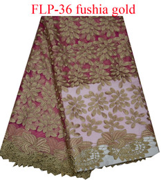 Fushia+gold embroidered African tulle lace fabric high quality French net lace fabric for dress FLP-36