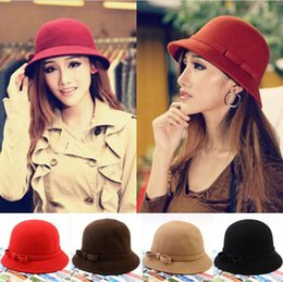 Wholesale Bucket Hat Women Floppy Solid Color Cloche Bowler Derby Fedora Hat Wool Felt Bowknot Hat Caps Red Black Coffee Wine Red Camel