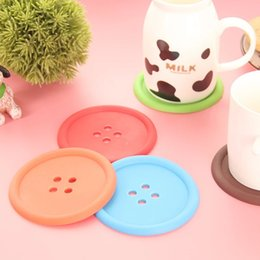 Free shipping 1000pcs round silicone coasters cute button coasters Cup mat Home Drink Placemat Tableware Coaster E9M