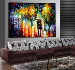 Two Couples Romantic Night Walk Date-100% Handpainted Palette Knife Oil Painting Canvas Mural Art for Hotel Office Home Decor